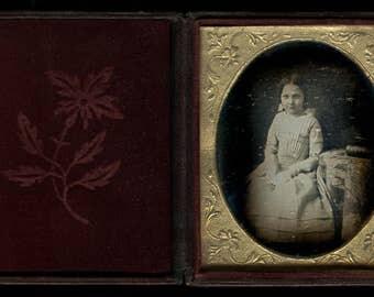 1840s Philadelphia Daguerreotype - Little Girl Wearing White Gloves # Sealed