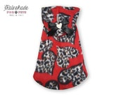 Valentine Day Polar Fleece red with leopard hearts. Dogs clothing. Pets wear Tg. XS -S- M