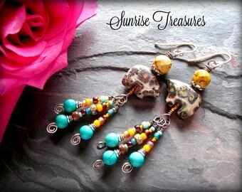 Rustic Earthy Southwest Earrings, Fetish Bear Earrings, Native American Style, Artisan Southwest Jewelry, Turquoise Jewelry