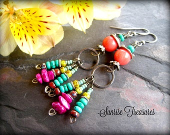 Pink Coral Earrings, Oxidized Sterling Silver and Natural Turquoise Earrings, Beaded Southwest Earrings, Colorful Cowgirl Jewelry