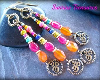 NEW Brass Ohm Earrings, Zen Spiritual Yoga Earrings, Natural Pink Ruby Earrings, Orange Carnelian Earrings, Boho Gypsy Jewelry