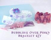 Bubbling Over Pinks Flat Cellini Cuff Bracelet Kit, Seed Bead Beading Kit, Light Rose Swarovski Crystal, Peyote Beadweaving Bracelet Kit