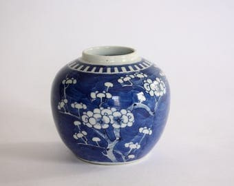 Vintage Blue and White Prunus Ginger Jar from China