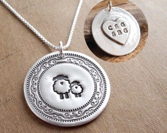 Personalized Mother and Baby Sheep Necklace, Heart or Oval Monogram, New Mom Necklace, Fine Silver, Sterling Silver Chain, Made To Order