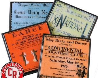 Vintage Dance Ticket Coasters