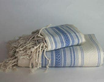 turkish towel set, pure cotton, pestemal and peshkir, ecru and blue, beach towel, baby blanket, tabelcloth, quick dry, body and hand towel,