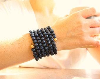 Wood beaded bracelet, wood cuff, beaded bracelet, wrap cuff