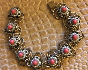Beautiful intricate bracelet with stones and seed pearls