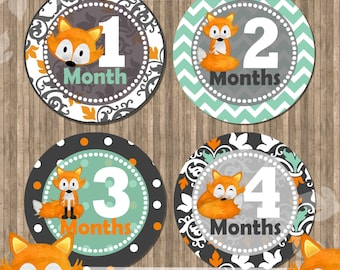 Little Fox Monthly Printable Stickers Fox Baby Month Stickers Baby Milestone Stickers,INSTANT DOWNLOAD
