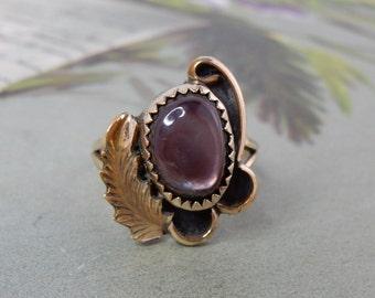 Vintage Navajo Artisan Sterling Silver & Gold Ring Sz 7.1/2    NEF20