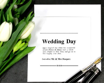 Personalised Wedding Day Definition Card|Card for Wedding|Card for Bride and Groom|Personalised Card|Blank Wedding Card|Congratulations Card