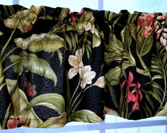 Valance Floral Black Waverly Wailea Coast Indoor Outdoor /Sun and Shade  Fabric with lining