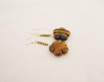 Tiger Eye and Hematite Earrings, Flower Shaped Earrings, Brown Earrings, Gemstone Earrings, Handmade Tiger Eye Earrings
