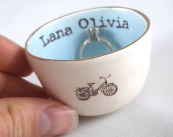 personalized bicycle or tandem printed wedding ring holder, bridal shower gift, mother's day gift or engagement ring dish, with custom color