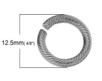 20 pcs. Stainless Steel Carved Open Jump Rings - 12.5mm - 2mm thick (14 Gauge) - Hypoallergenic!