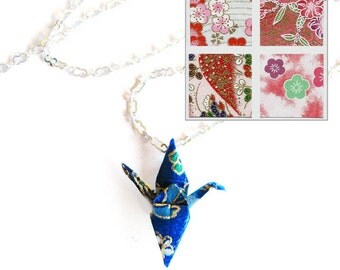 Origami Crane Necklace Pink and Red Flowers Paper Choices Peace Crane Necklace