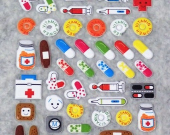 Mixed Cute Puffy Medicines Stickers