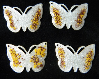 Butterfly Connector Vintage Guilloche Silver with Brown and Orange Dots Enamel - Set of 4