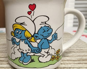 1982 Vintage Smurf and Smurfette Holding Hands 80's Mug I Love You Balloons 1980's