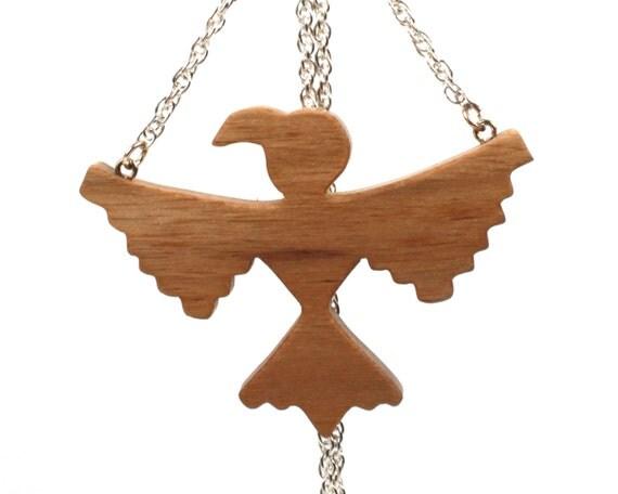 Southwestern Jewelry, Thunderbird Necklace, Wooden Tribal Bird Pendant, Wood Pendant Necklace, Hand Cut, Walnut