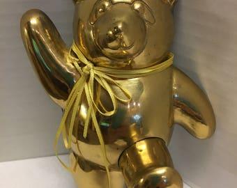 Vintage Shiny Brass Teddy Bear Hanger Hook 7 by 5