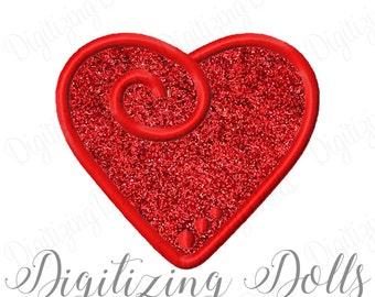 Swirl Heart Applique 2 Machine Embroidery Design 3x3 4x4 5x7 6x10 love swirly swirley dot dots Valentines Day INSTANT DOWNLOAD