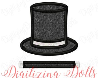 Magic Applique Set - Top Hat Applique & Magic Wand Applique Machine Embroidery Designs INSTANT DOWNLOAD