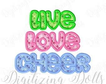 Live Love Cheer Applique Machine Embroidery Design 4x4 5x7 6x10 Cheer leading Cheerleader Cheerleading INSTANT DOWNLOAD