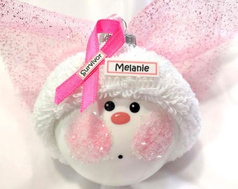 Breast Cancer Angel Christmas Ornaments Survivor Personalized Pink Name Tag Sample Hand Painted Handmade Themed by Townsend Custom Gifts - F