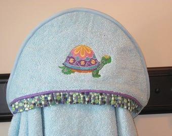 NEW flower power turtle hooded towel toddler girly bath towel