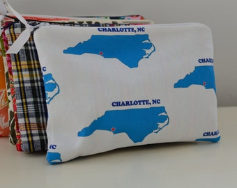 Zipper Pouch in Charlotte NC - cosmetic bag travel case diaper bag organizer medium local custom ipad mini kindle toiletry gift set