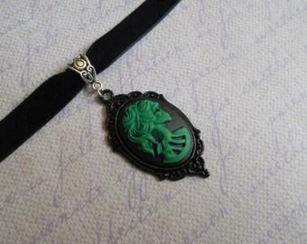 Gothic Lolita skeleton lady cameo in green velvet choker necklace