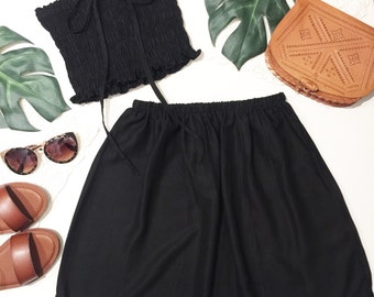 Black matching set outfit festival set fashion twin set swing high waist skirt rouged crop tube top