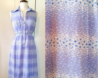 Japanese vintage dress, mid century 70s sleeveless lilac print XS S