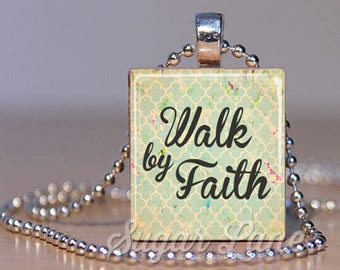 Walk By Faith Necklace - (WBFA1 - 2 Corinthians 5:7 - Pale Aqua) - Scripture Pendant - Scrabble Tile Pendant with Chain