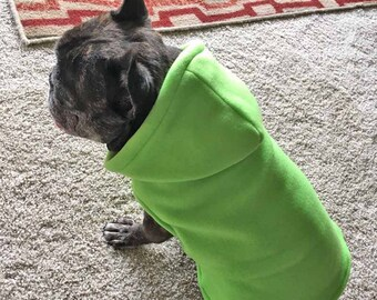 French Bulldog Frenchie Neon Lime Chartreuse Green  Fleece Hoodie