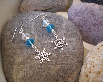 Blue Topaz and Crystal Wire Wrapped Silver Snowflake Charm Dangle Earrings