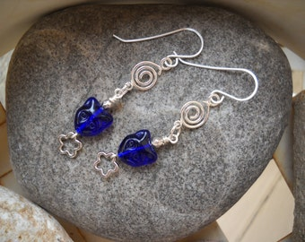 Silver Wire Wrapped and Cobalt Blue Czech Glass Cat Face Dangle Earrings