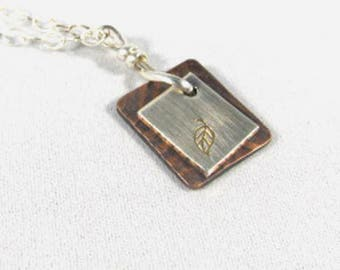 Leaf stamped mixed metal Necklace-silver-copper-handmade