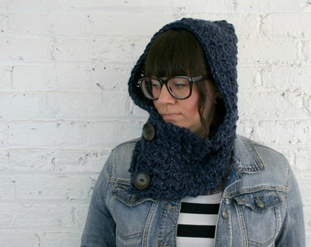Hooded Cowl - Scoodie -  Hooded Cowl with Wooden Buttons - Navy Tweed