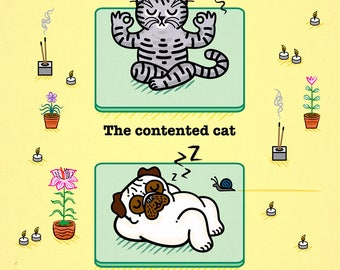 Yoga Poses - Pug and Cat - Childrens art - Nursery art - Nursery Decor - iOTA iLLUSTRATiON