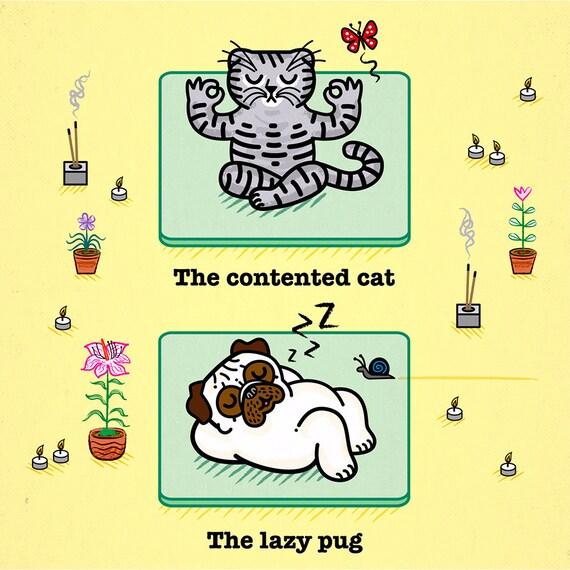 Yoga Poses - Pug and Cat - Childrens art - Nursery art - Nursery Decor - iOTA iLLUSTRATiON
