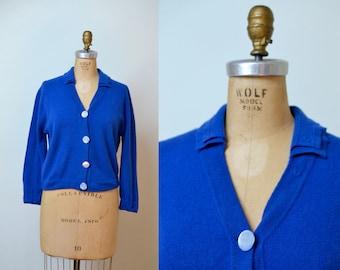 1950s Blue Cashmere Cardigan / Dalton Sweater