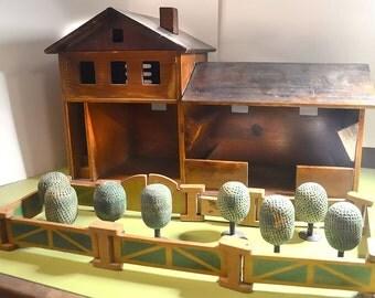 1920s Vintage Antique Original Art Deco Swiss Hard Wood Signed Antonio Vitali Kurt Kaef-era Toy Animal Hand-made Farm Playset Trees Corral