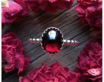 Garnet Ring Size 9 Sterling Silver Red Stone Gemstone January Birthstone 925 Jewelry