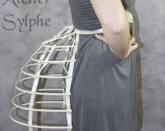 One ivory ribbon and lacing Crinoline hoop back long bustle cage pannier