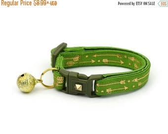 ON SALE Arrow Cat Collar - Metallic Gold Arrows on Kiwi Green - Small Cat / Kitten Size or Large Size - Woodland - Boho