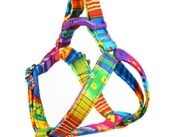 ON SALE Step In Dog Harness - Happy Go Lucky Stripe - Mini Small Medium Large XL Dog Harness