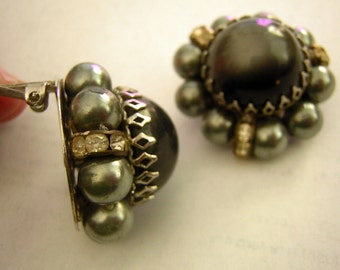 Big Gray Vintage Earrings 1950s 1960s Moonglow Lucite with Gray Faux Pearl & Rhinestone Rondell Collars - Clip On