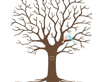 Personalized Tree Gift for Mother, Family Tree, Last Minute Gift, Fingerprint Guest Book, Rush Gift for Parents - DIGITAL PRINTABLE JPEG